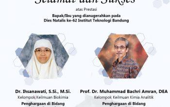 Penghargaan bidang Karya Inovasi dan bidang Pengajaran dalam Dies ITB ke-62