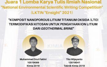 """Prestasi Mahasiswa pada LKTI Nasional """"Ensight"""" 2021"""